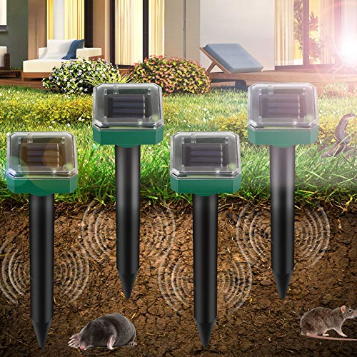 Vivibel 4 Stück Solar Maulwurfabwehr, Ultrasonic Solar Maulwurfschreck, Maulwurfbekämpfung, Wühlmausschreck, Mole Repellent, Schädlingsbekämpfung mit...