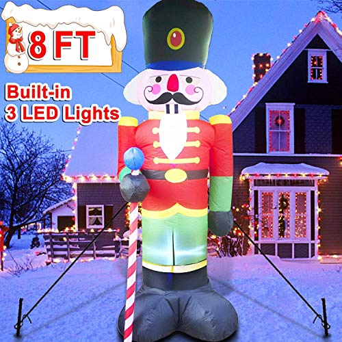 QTRT 8 Foot Christmas Inflatable Nutcracker Soldier Outdoor Decorations, Light Up Inflatable Santa Claus Soldier with 3 LED Lights Blow Up Decorations for Yard Lawn Garden Xmas Decor