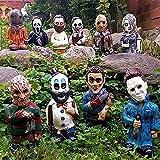 Horrorfilm-Gartenzwerge, Alptraum-Horror-Zwerg, Killer-Gartenzwerg, gruselige Untote Halloween-Skulptur Kampf-Zwerg für Haus Terrasse und Garten Zombies Gnom Schädel Dekor