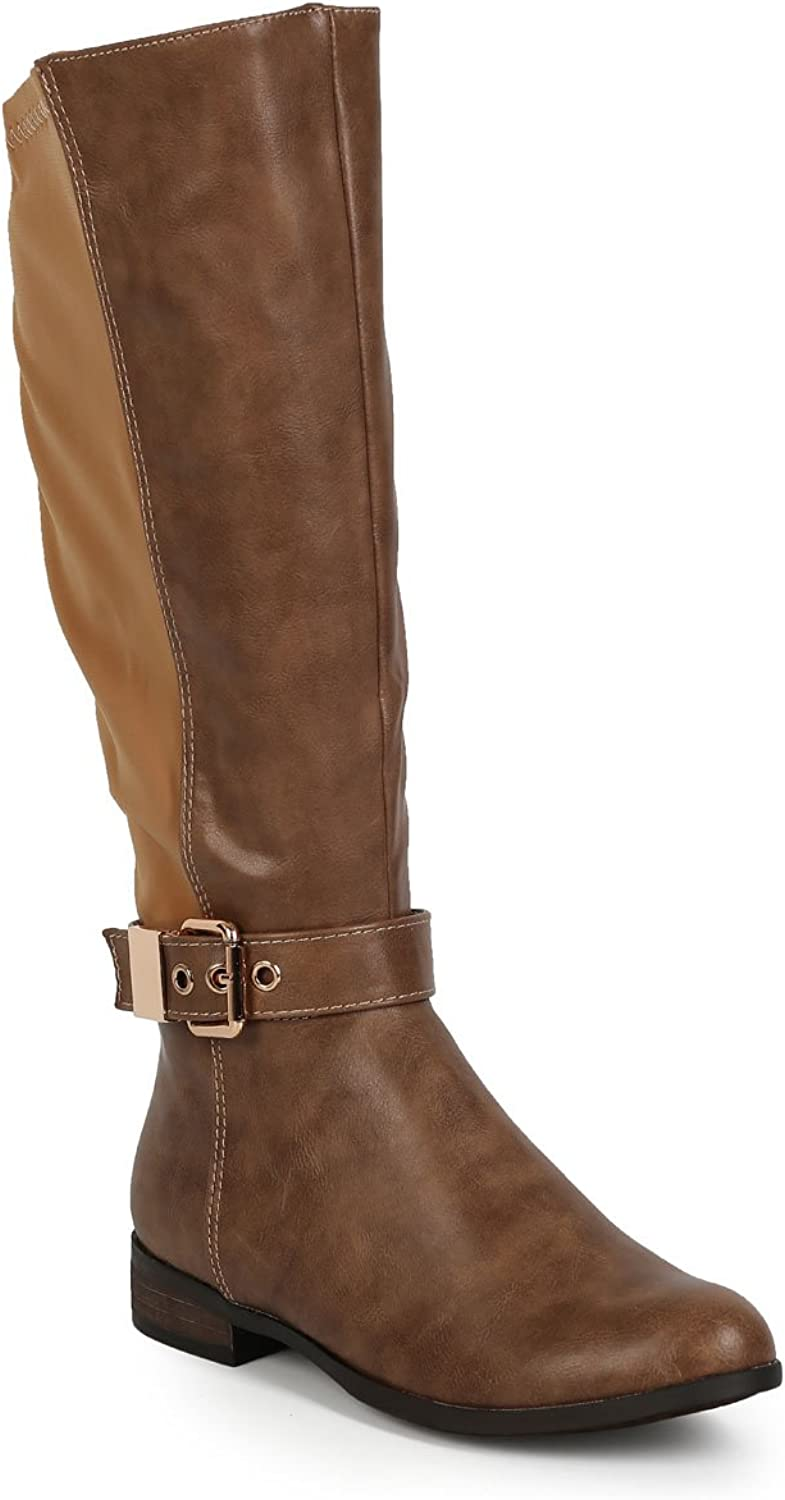 Liliana CI68 Women Leatherette Lycra Mid-Calf Buckle Stretch Riding Boot - Taupe