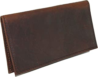 Boston Leather Unisex Textured Bison Leather Checkbook Cover, Check Book Protection Dark Pecan