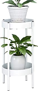ZEETOON Modern Metal Plant Stand Round Corner Floor Holder Shelf and 2 Tray Set Foldable Sturdy Flowers Pot Base for Indoor & Outdoor Potted Orchid Home Decorative Fit 12 Inch Planter White