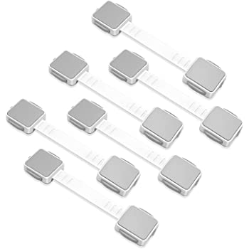 ECO SPACE Child Safety Locks (6 Pack) - Dual Action Multi Use Latches, 3M Adhesive, Adjustable Size, No Tools or Drilling, for Fridge, Cabinets, Drawers, Dishwasher, Toilet Seats, etc.