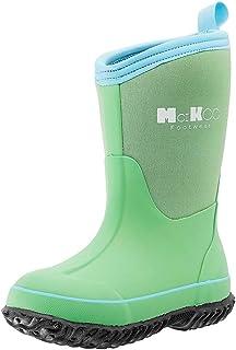 أحذية المطر مطاطية للأطفال من MCIKCC أحذية برقبة طويلة كلاسيكية مقاومة للماء سحب على الثلج للأطفال الصغار الأولاد والبنات