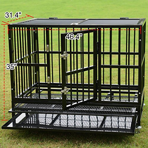 48'' Heavy Duty Pet Dog Cage Strong Metal Crate Kennel Playpen w/Wheels&Tray