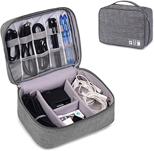 ORPIO LABEL Waterproof Travel Electronic Gadget Organizer Case Portable Zippered External Hard Drive Pouch for Data Cables Chargers Power Bank Adapters Phone Plugs Memory Card USB Grey