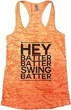Funny Threadz Womens Hey Batter Batter Swing Batter Baseball Burnout Sports Tank Top