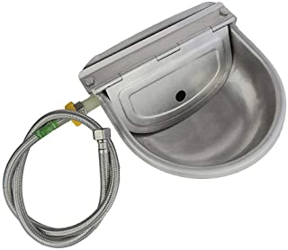 Automatic Water Feeder Trough Bowl with Pipe for Cattle Horse Goat Sheep Dog Animals Stainless Pet Livestock Tool
