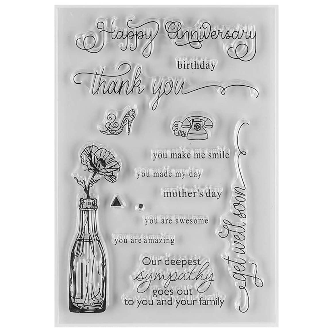 MaGuo Happy Anniversary and Birther Day with Flower in Pot Clear Rubber Stamps for DIY Scrapbooking Paper Craft or Card Making Decoration
