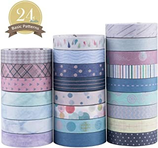 Yubbaex Washi Tape Set Skinny Masking Decorative Tapes for Arts, DIY Crafts, Bullet Journals, Planners, Scrapbooking, Wrapping (Basic Patterns)