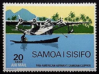 Pan American Airways Samoan Clipper Aircraft -Handmade Framed Postage Stamp Art 21707AM