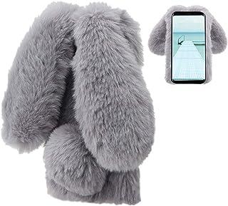 Konijn Hoes voor Samsung Galaxy S8, LCHDA Pluizig Schattige Kunstmatig konijnenbont Haar Leuk Lange Oren Pluche Zacht Hari...