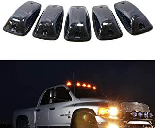 iJDMTOY Smoked Lens Amber LED Cab Roof Marker Running Lamps For Truck 4x4 SUV, 5-Piece Aerodynamic Low Profile Roof Running Light Set