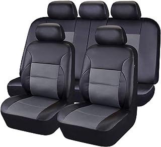 CAR PASS - 11 st lyxigt PU-läder bil universellt sätesöverdrag set paket – universell passform för fordon med super 5 mm s...