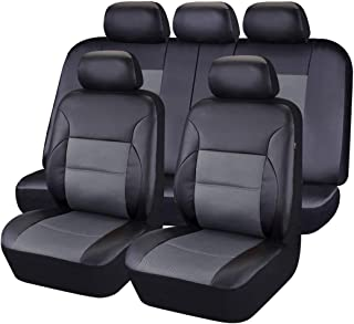CAR PASS 11 Pieces Leather Universal Car Seat Covers Set - Black and Gray