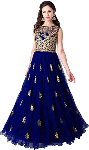 Multi Color Heavy Soft Net Fabric Embroidery Work Round Neck Sleevesless Long Semi Sticthed Gown For Women Royal Blue