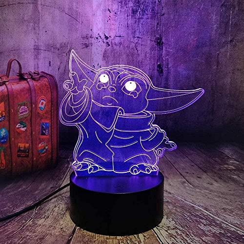 ADIS Lámpara de ilusión 3D Luz de Noche LED Noche Star Wars Baby Yoda Meme Figura para niños Dormitorio Infantil Decoración Lámpara de Mesa Bebé durmiendo Niños Lámpara de sueño
