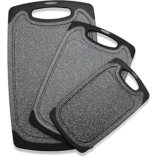 Cutting Board Set of 3 Plastic Cutting Boards for Kitchen, Dishwasher Safe Chopping Board with Juice Grooves, Easy Grip Handle, Non-Slip, BPA Free(Black,Grind Function)