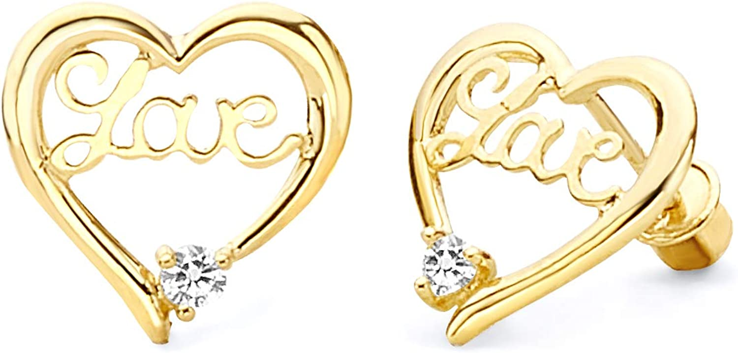 14k Yellow Gold Quality inspection Love Discount mail order Heart Earrings Stud with Back Screw