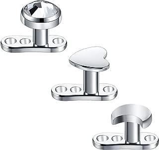14G Dermal Piercing CZ Anchor Tops Surgical Steel Internally Thread Micro Dermal Head Crystal Surface Skin Diver Piercing Studs Microdermals for Women Men 2mm Bar