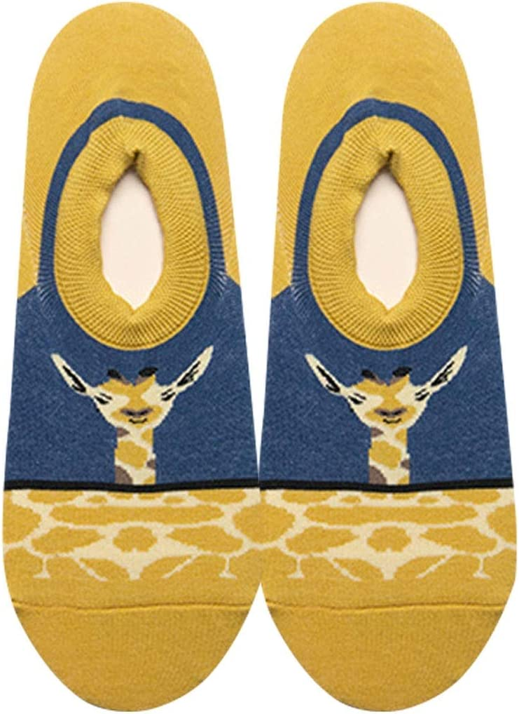 JIEIIFAFH 1X Unisex Summer Low Cut No Show Socks with Cute Giraffe Pattern, Invisible Non-Slip Cotton Socks (Color : Multi-Colored, Size : One Size (38-42EU))