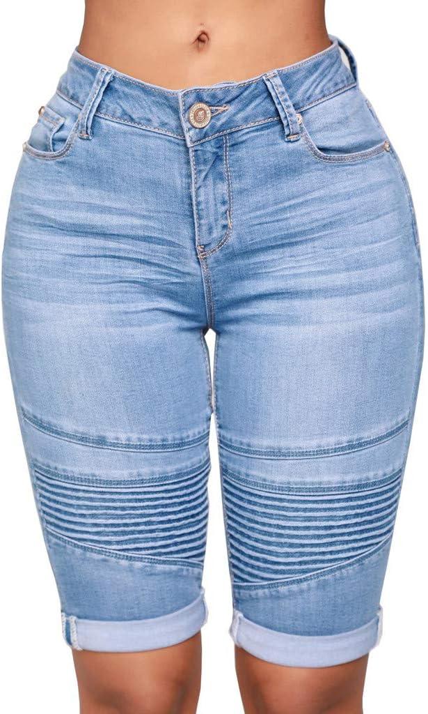 Hombres Cord/ón Jeans Shorts Pantalones Cortos Cintura El/ástica Rodilla Length