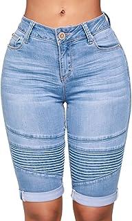 3619c820190 Lazzboy Las Mujeres de Mediana Altura elástica Zip Skinny Denim hasta la  Rodilla Curvy Estirar Shorts