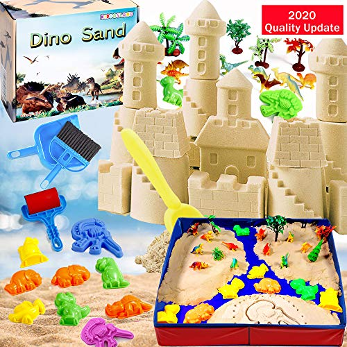 Dino Play Sand Kit for Kids 3lbs Cool Dinosaur Edition Motion Sand with an Inflation-Free Sandbox and Numerous Dino Moulds and Tools Creative Toys for Boys and Girls Ages 3 4 5 6 7+ Year Old