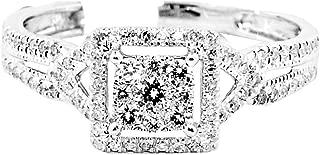 0.4cttw Diamond Engagement Ring Square Halo Split Shoulder 7.5mm Wide 10K White Gold