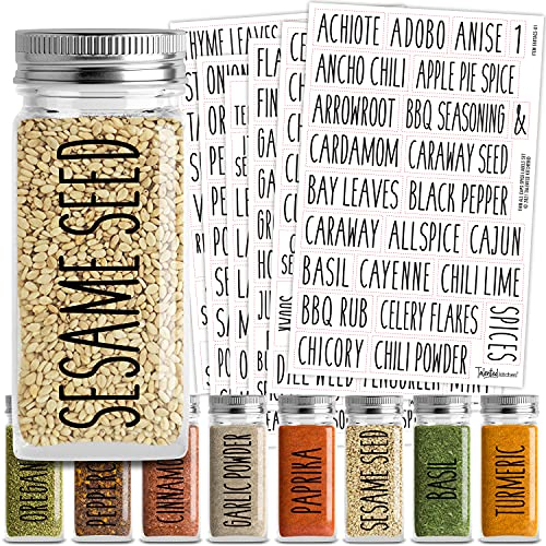 Talented Kitchen 145 Spice Jar Labels Preprinted: 145 Black All Caps Spice Names + Numbers. Black Letters on Clear Sticker. Water Resistant for Spice Jars Rack Organization, All Caps Rae Dunn Inspired