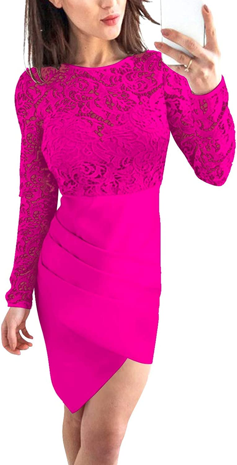 Bess Bridal Women's Lace Bodycon Long Sleeves Short Prom Homecoming Party Dress