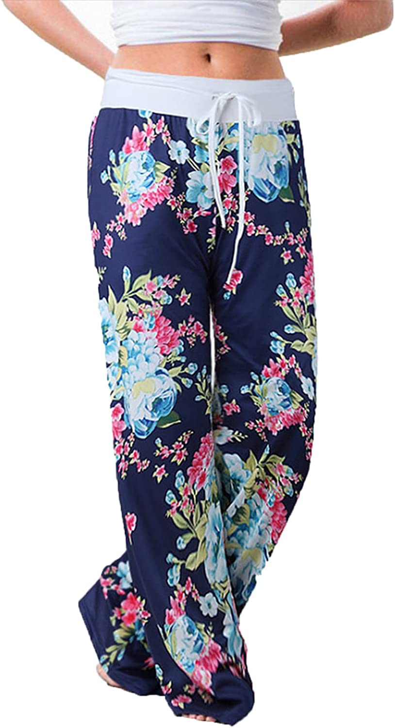 Women's Printed Wide-Leg Pants Comfy Stretch Floral Print Drawstring Lounge Trousers Casual Stretchy Casualpants (Large,Blue 1)