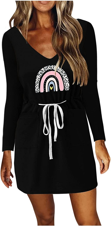 Aunimeifly Women Dress Long Sleeves V Neck Spaghetti Strap Dresses Casual Stripe Drawstring Autumn Mini Dress