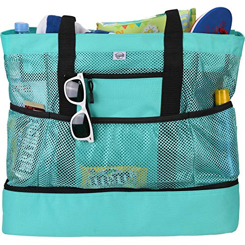 Tingueli Beach Tote Bag For Women with Soft Cooler and Top Zipper — Extra Large Beach Bag [Turquoise]