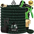 Buheco Expandable Garden Hose 100ft-Water Hose with 9 Function Spray Nozzle and Durable 4 Layers Latex-3/4'' Solid Brass Fittings-Strength 3750D No Kink Flexible Lightweight Expanding Hose Pipe Set
