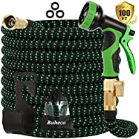 Buheco Expandable Garden Hose with 9 Function Spray Nozzle and Durable 4 Layers