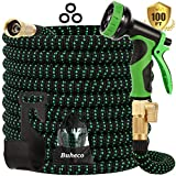 Buheco Expandable Garden Hose 100ft-Water Hose with 9 Function Spray Nozzle and Durable 4 Layers Latex-3/4'' Solid Brass...