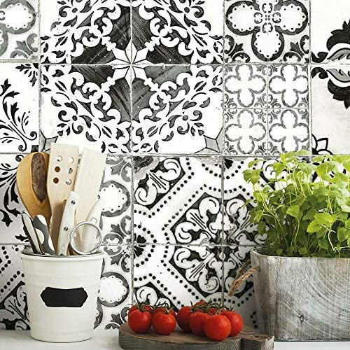 RoomMates RMK11282WP Black Mediterranean Tile Peel and Stick Wallpaper product image