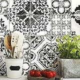 RoomMates RMK11282WP Black Mediterranean Tile Peel and Stick Wallpaper