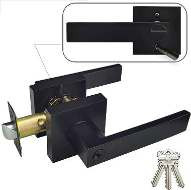 Hade Lion - Manillas cuadradas para puerta de entrada, fácil de instalar, color negro mate, palanca de puerta recta, resisten