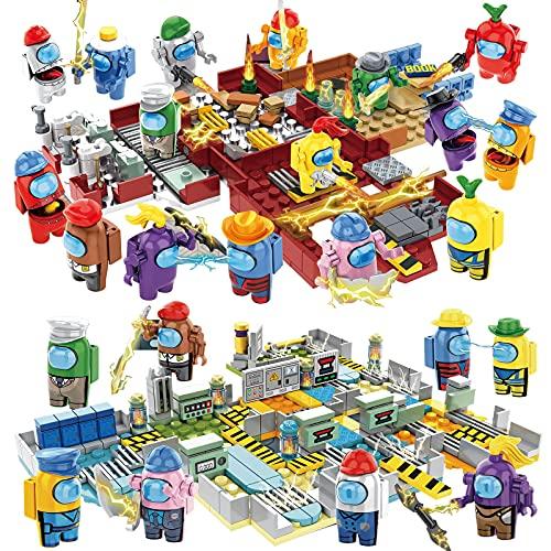 Among Us ビルディングブロック、スペースエイリアンフィギュア Peluche ゲームモデルキットレンガクラシックキッズおもちゃ子供のギフトミニ像、ゲームモデル,狼男キルのおもちゃ。 (宇宙軍団の戦い +宇宙発電所)