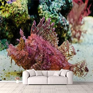 Modern 3D PVC Design Removable Wallpaper for Bedroom Living Room Weedy Scorpionfish Rhinopias frondosa animal life in the ...