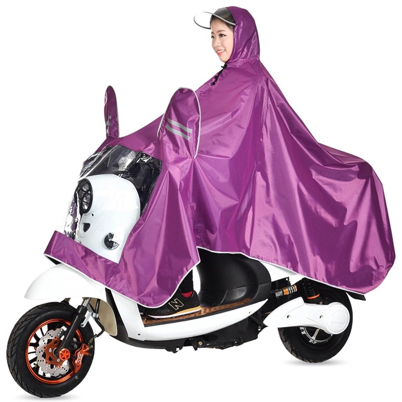 雨具 防水 女性用 通学 便利 乗る ポンチョ レインコート 女性 電気自動車 大人 パープル (サイズ : XXXL)