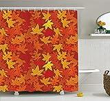 La sombrilla de otoño ofrece colores otoñales anaranjados colores otoñales y hojas de arce marca inusual tema natural tejido estampado tejido de poliéster juego de baño con gancho naranja quemado