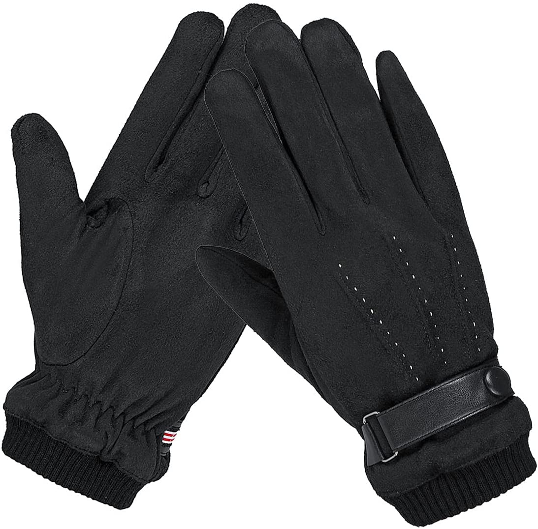 Lupovin-Keep Warm Mens Winter Suede Gloves Touch Screen Windproof Thermal Quick Outside Sport Skiing Gloves Non-Slip (Color : Black)