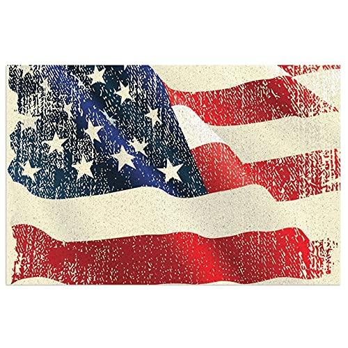 Felpudo con bandera de Estados Unidos con respaldo de PVC resistente para uso en interiores y exteriores