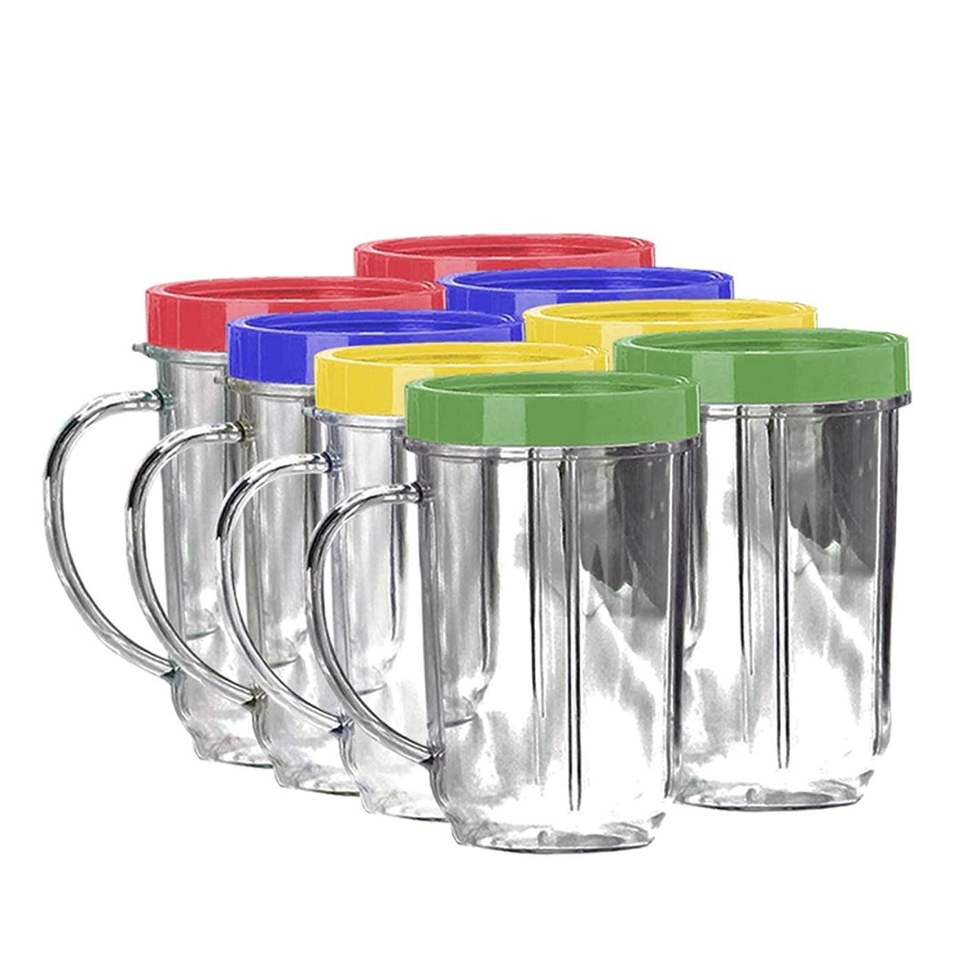Lutema Replacement Juicer Cups 16oz. - Party Cup Mugs Compatible with Original Magic Bullet … (8 Pack)