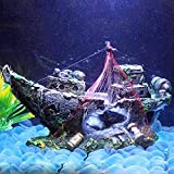 Ornamento creativo Home & OfficeEcoration Decoraciones de escritorio Decoraciones de reptil Nido de resina Tortuga Anfibio Decoración del tanque de la cueva Decoración de la cueva Sailboat Shipwreck A