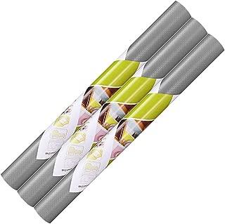 Dulcii 3 Rolls Shelf Liner, 3-Pack Vinyl Shelf Liners Non-Adhesive Non-Slip BPA Free EVA Kitchen Cabinet Drawer Liners Mat, Waterproof Refrigerator Liner/Mat/Pad, 17.7-Inch x 5-Feet, Grey