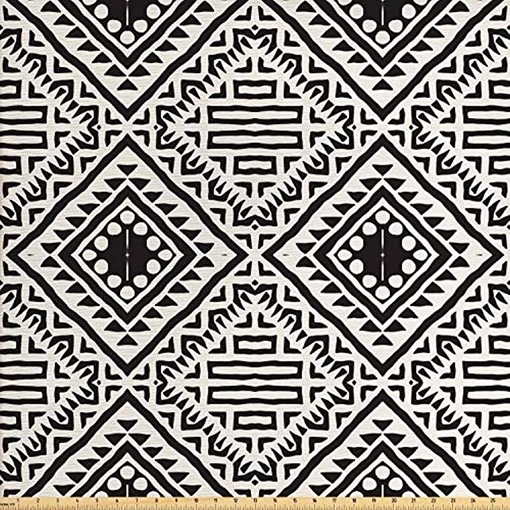 Lunarable Black and White Fabric by The Yard, Tribal Pattern with Doodle Elements Aztec Ethnic Geometric Art Print, Decorative Fabric for Upholstery and Home Accents, 1 Yard, Black and White